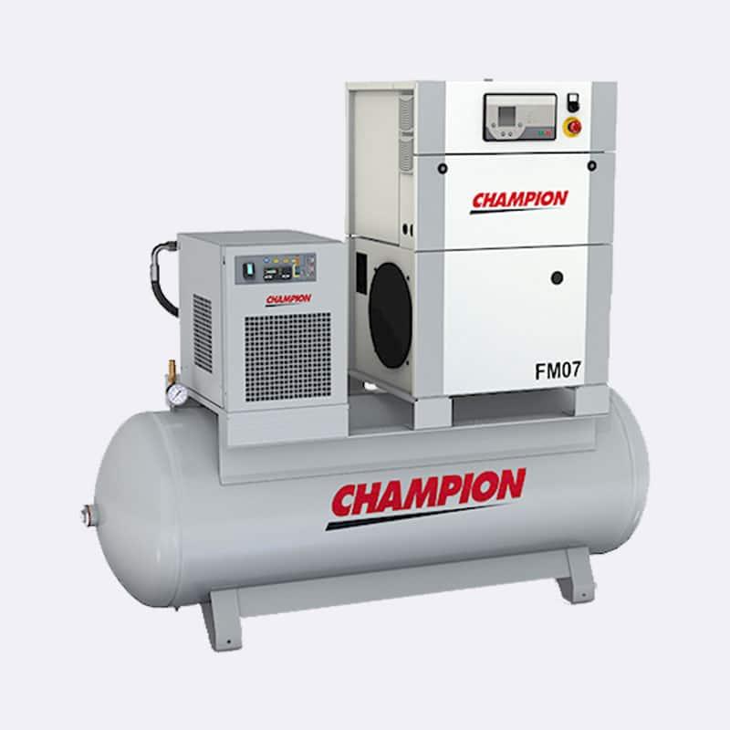 Champion FM 07 premium op ketel met droger Van Elewout Kompressoren