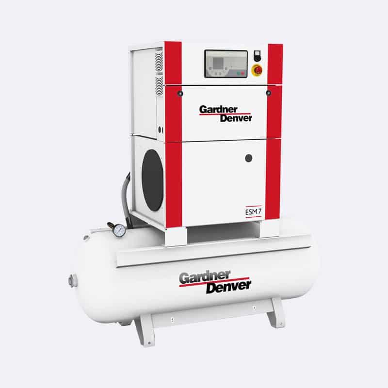 Gardner Denver Schroefcompressor ESM 07 op ketel Van Elewout Kompressoren