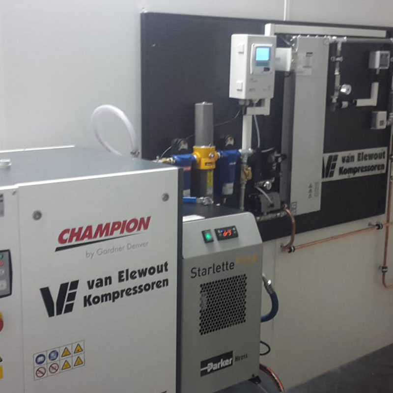 Stikstof cilinder membraan generator Van Elewout Kompressoren