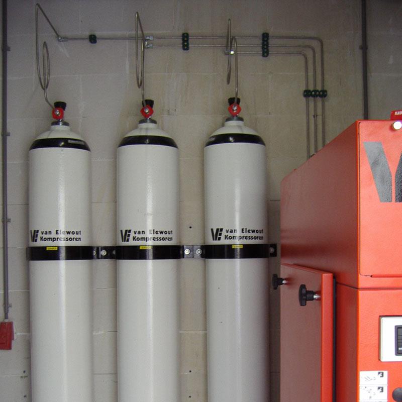 Stikstof cilinder stikstof flessen bank Van Elewout Kompressoren